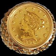 14K Man's US 2 1/2 Dollar Gold Coin Ring - 1980's