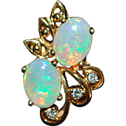 Pair of 14K Opal and Diamond Earrings - 1980's