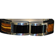 Mexican 950 Silver Tiger Eye and Black Onyx Clapper Bangle - 1980's