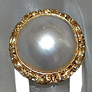 18K 16 mm Mabe Pearl Ring - 1960's