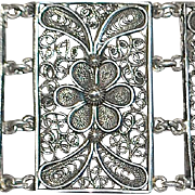 Large  German 800 Silver  Filigree Bracelet - 1920's