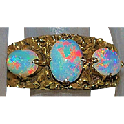 14K Three Stone Flame Opal Ring - 1970's