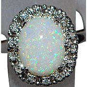 14K w/g Opal and Diamond Ring - 1960's