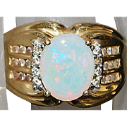 14K Opal and Diamond Ring - 1970's