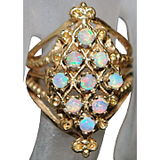 14K Opal Etruscan Style Ring - 1960's