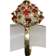 14K Red Garnet Wedding Cake Ring - 1960's