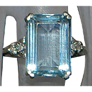 14K w/g 5ct Aquamarine and Diamond Ring - 1950's