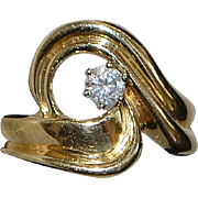 14K Diamond Solitaire and Gold Ring - 1980's