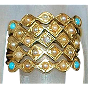 14K Seed Pearl, Turquoise, and Diamond Harem Ring - 1960's