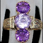 14K r/g 3 Stone Amethyst Ring - 1900