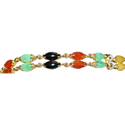 14K Double Row Multi-Colored Jade Bracelet