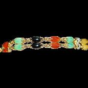 14K Double Row Multi-Colored Jade Bracelet