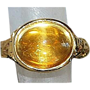 14K Cabochon Citrine Poison Ring - 1970's