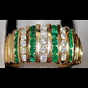 14K Emerald and Diamond Ring - 1980's