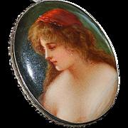 800 Silver Firenze Hand Painted Porcelain Brooch - 1920