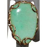 14K Large Custom Green Jade Ring - 1970's