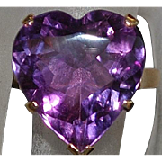 14K Large Heart Shaped Amethyst Ring - 1980's