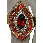 14K Large Red Garnet and Diamond Ring