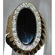 14K Large Black Onyx and Diamond Ring - 1970's