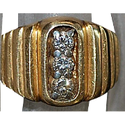 14K Three Diamond and  Gold Ring - 1940's