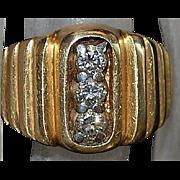 14K Three Diamond and  Gold Ring - 1940's