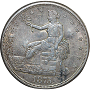 United States Trade Dollar - 1875 - S - Chopmarks