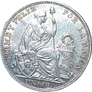 Large Peru Silver Un Sol Crown Coin - 1893TF - UNC