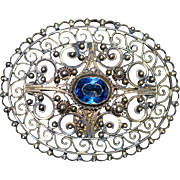 Large Portugal Filigree Blue Topaz Brooch - 1920's