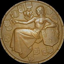 "French Art Deco Ocean Liner Bronze Medal ""Ile De France"""