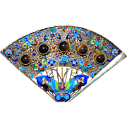 Chinese Silver Filigree Enamel Fan Brooch - 1920