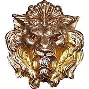 Lion's Head Gold Fill Watch Clip - 1900