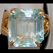 14K Gold Aquamarine Ring - 1960's