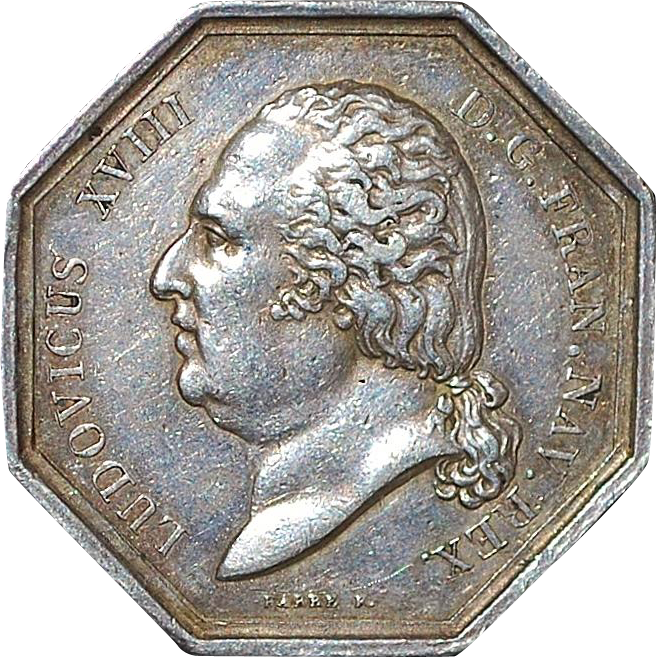 French Silver Octagonal Jeton - 1818 - Type 2