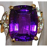 14K Amethyst and Diamond Ring - 1980's