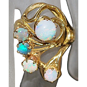 14K Large Custom Opal Ring - 1970's