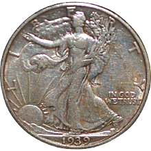 United States Walking Liberty Half Dollar Coin - 1939 - S