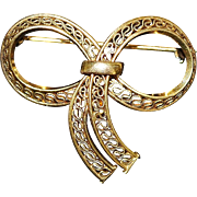 Gold Fill Filigree Bow Watch Clip or Brooch - 1920