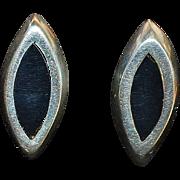 Pair of Sterling Silver and Enamel  Earrings - 1980's