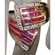 14K Ruby and Diamond By-pass Ring - 1980's