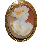 18K Tri-color Carved Cameo Brooch - 1920's