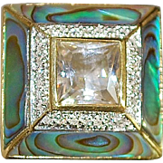 14K Large White Quartz, Abalone, Diamond Ring