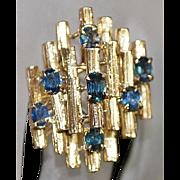 14k Blue Sapphire Modernist Custom Ring - 1970's