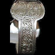 Moroccan Silver  Bangle Cuff Bracelet - 1920's