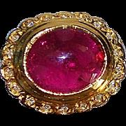 14K Red Tourmaline, Diamond and Chalcedony Ring
