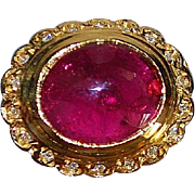 14K Red Tourmaline, Diamond and Chalcedony Ring