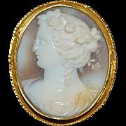 18K Italian Tri-Color Cameo Brooch - 1870's