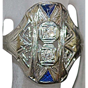 20K w/g Art Deco Diamond Filigree Ring - 1920's