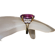 14K Large Amethyst and Diamond Ring - 1980's
