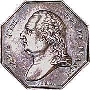 French Silver Louis XVIII Gaming Jeton - 1814