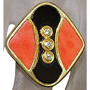 18K Toliro Diamond, Onyx, and Coral Ring